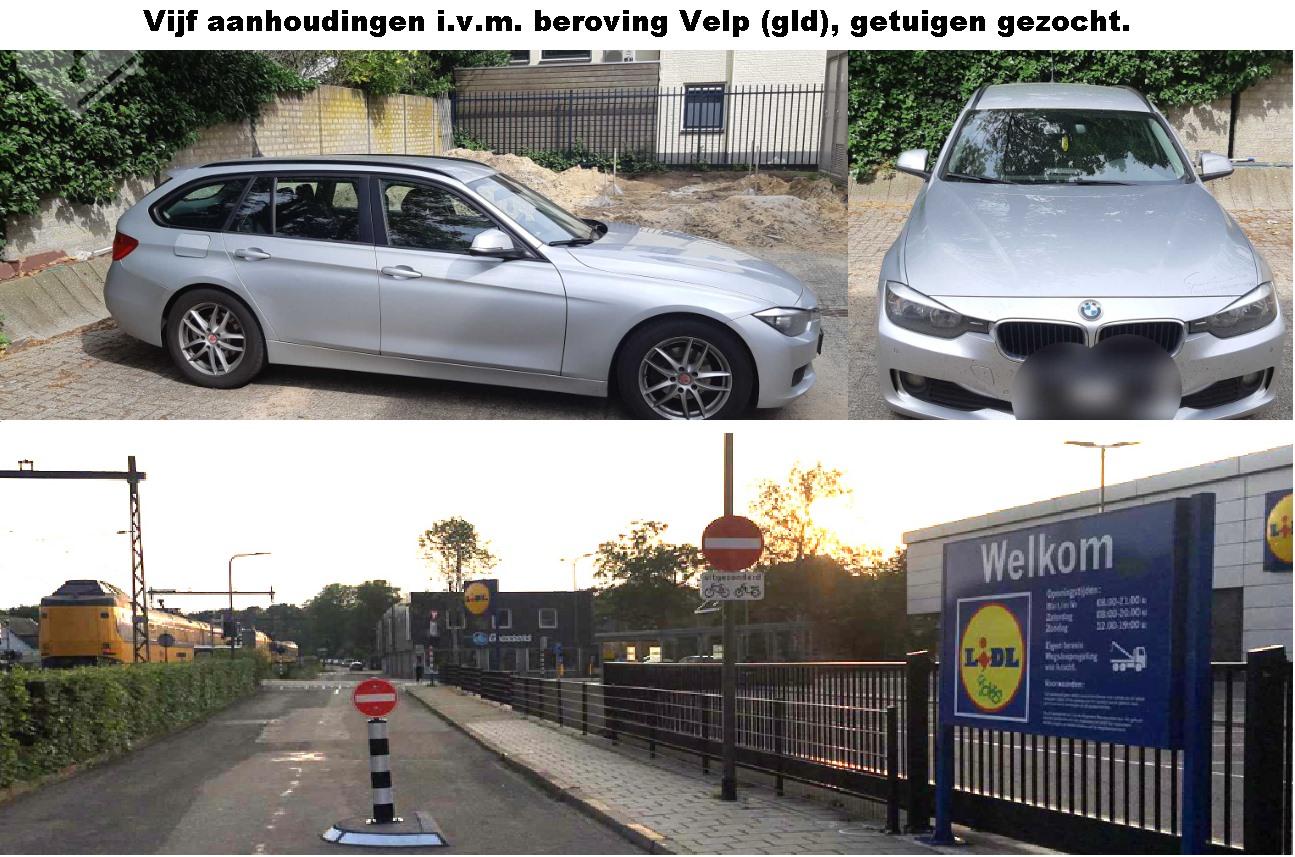 Vijf personen aangehouden i.v.m. beroving in Velp